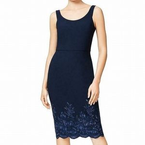 Betsey Johnson Blue Sz 6 Embroidered Sheath Dress